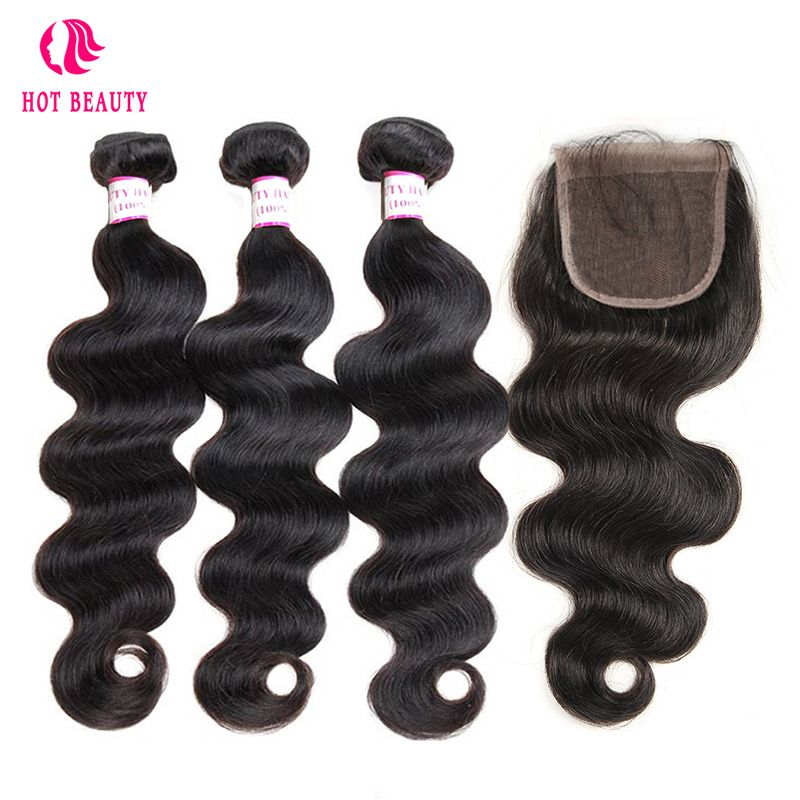 Hot Beauty Hair Brazilian Human Hair Body Wave Weave Hair Bundles With Free Part Pre Plucked Lace Closure Remy Human Hair 4PCS