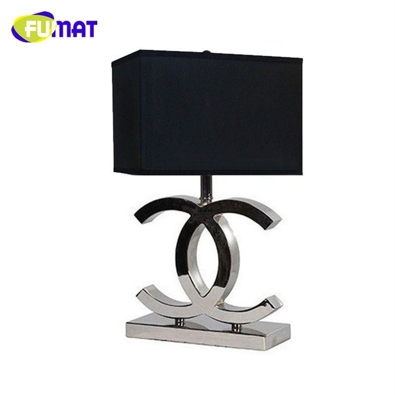FUMAT CC Table Lamps Bedroom Bedside Light Simple Fashion Fabric Desk Light Modern Stainless Steel Table Lamp for Living Room