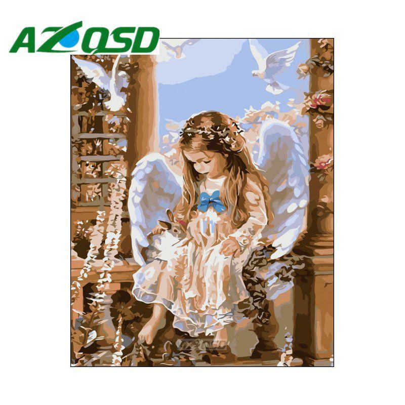 AZQSD Peinture Par Numéros Angle Bébé DIY Sans Cadre 40x50 cm Peinture À L'huile Numérique Par numéros Sur Toile Home décor szyh012