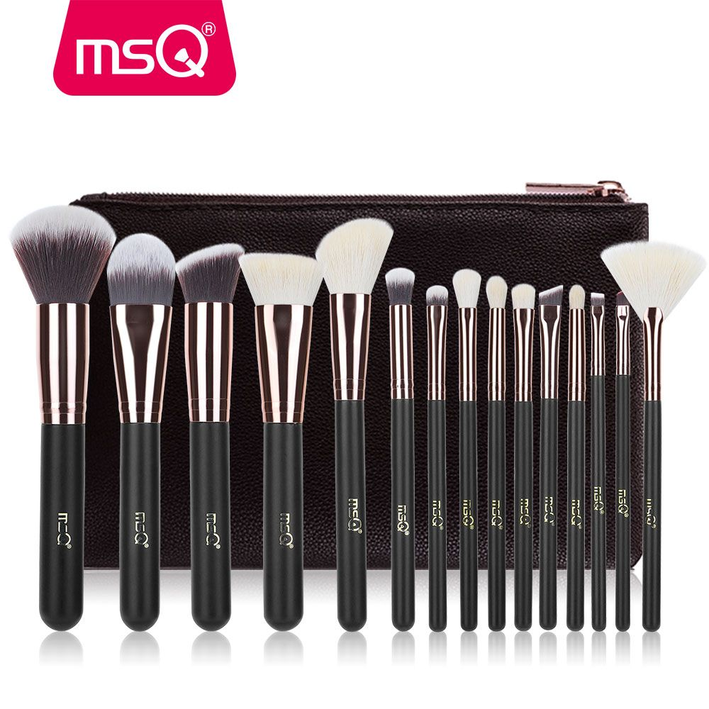 MSQ Maquillage Brosses Ensemble Pro 15 pièces En Or Rose Maquillage Brosse Animal et Synthétique Cheveux Fondation Fard À Joues Oeil Outil Avec Étui En Cuir PU