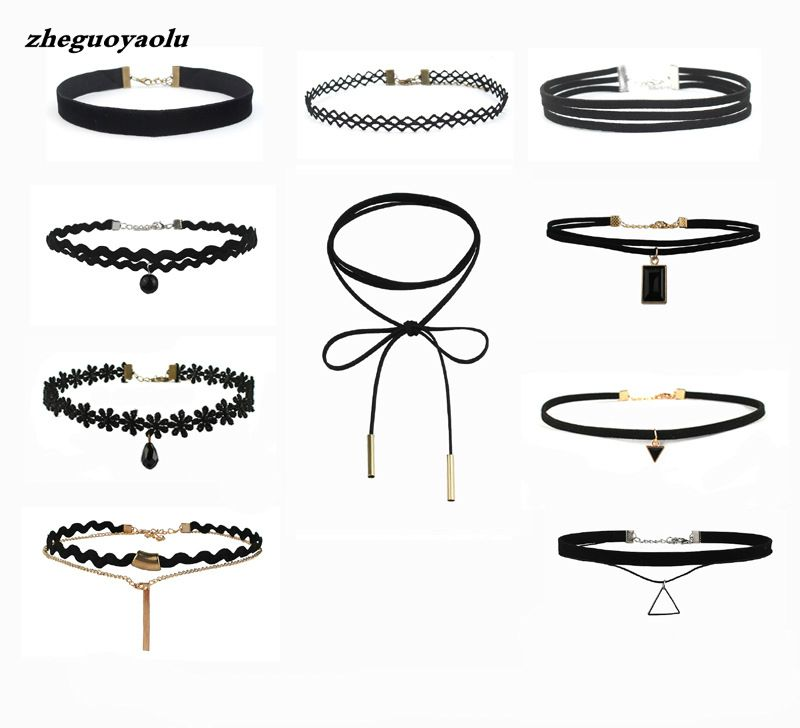 Best Offer New Fashion 10 Pieces Women Black Rope Choker Necklace Set Velvet Stretch Classic Gothic Lace Choker Chain 1 Set
