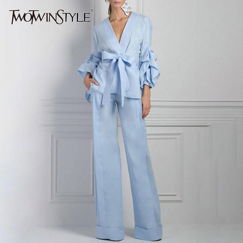 TWOTWINSTYLE Kimono Bluse Breite Beinhosen der Frauen Zwei Stück Laterne Sleeve Lace up Tops Weibliche Hohe Taille Hose Anzug 2018