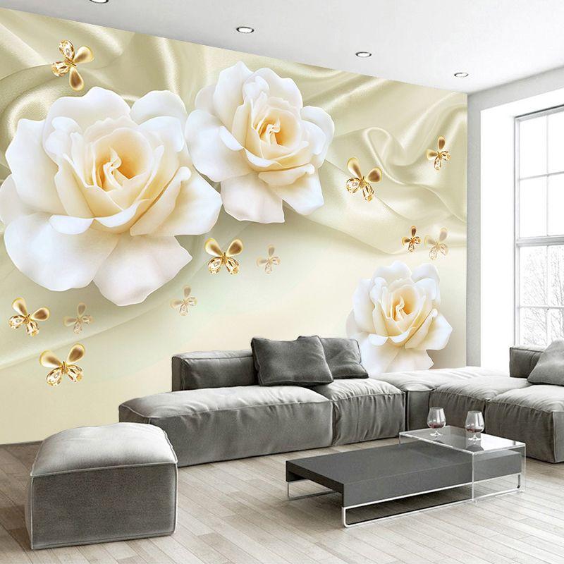 Пользовательские Любой размер 3D Роспись стен розы Бабочки шелк нетканые Ткань Большая фреска обои Гостиная диван ТВ фон