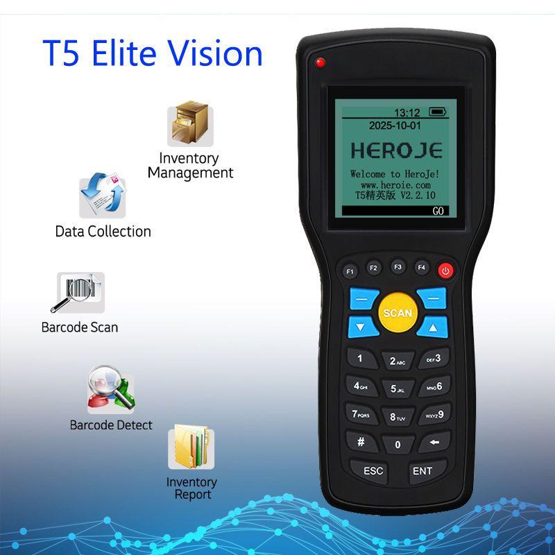 Heroje T5 Elite Vision sans fil 433 MHz 1D lecteur de codes à barres collecteur de données gestion des stocks EAN13 1D avec moteur de recherche
