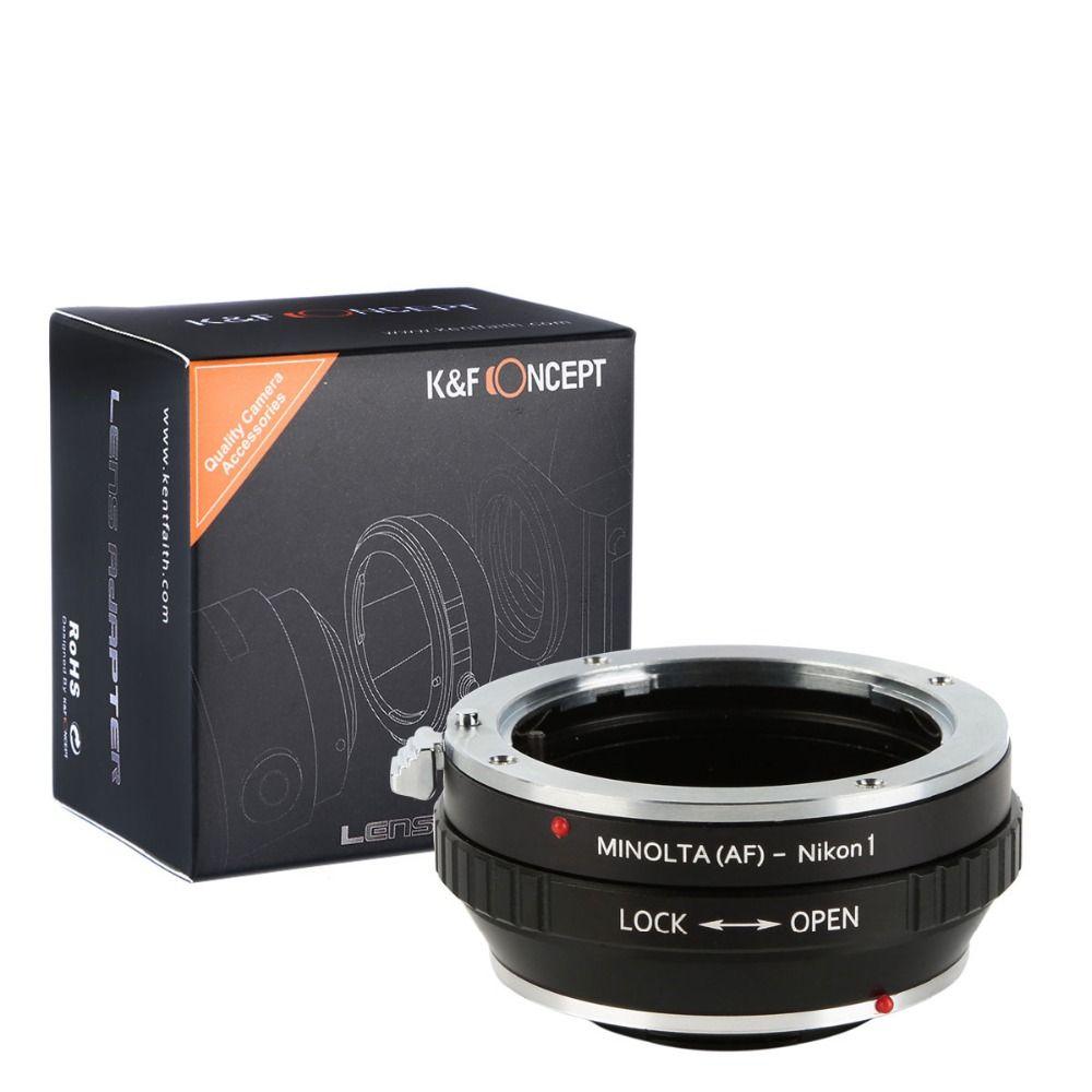 K & F Concept Lens Mount Adapter avec Trépied pour Minolta MA AF Lens pour Nikon 1 Compacts S2, j4, V3, AW1, S1, J3, V2, J2,