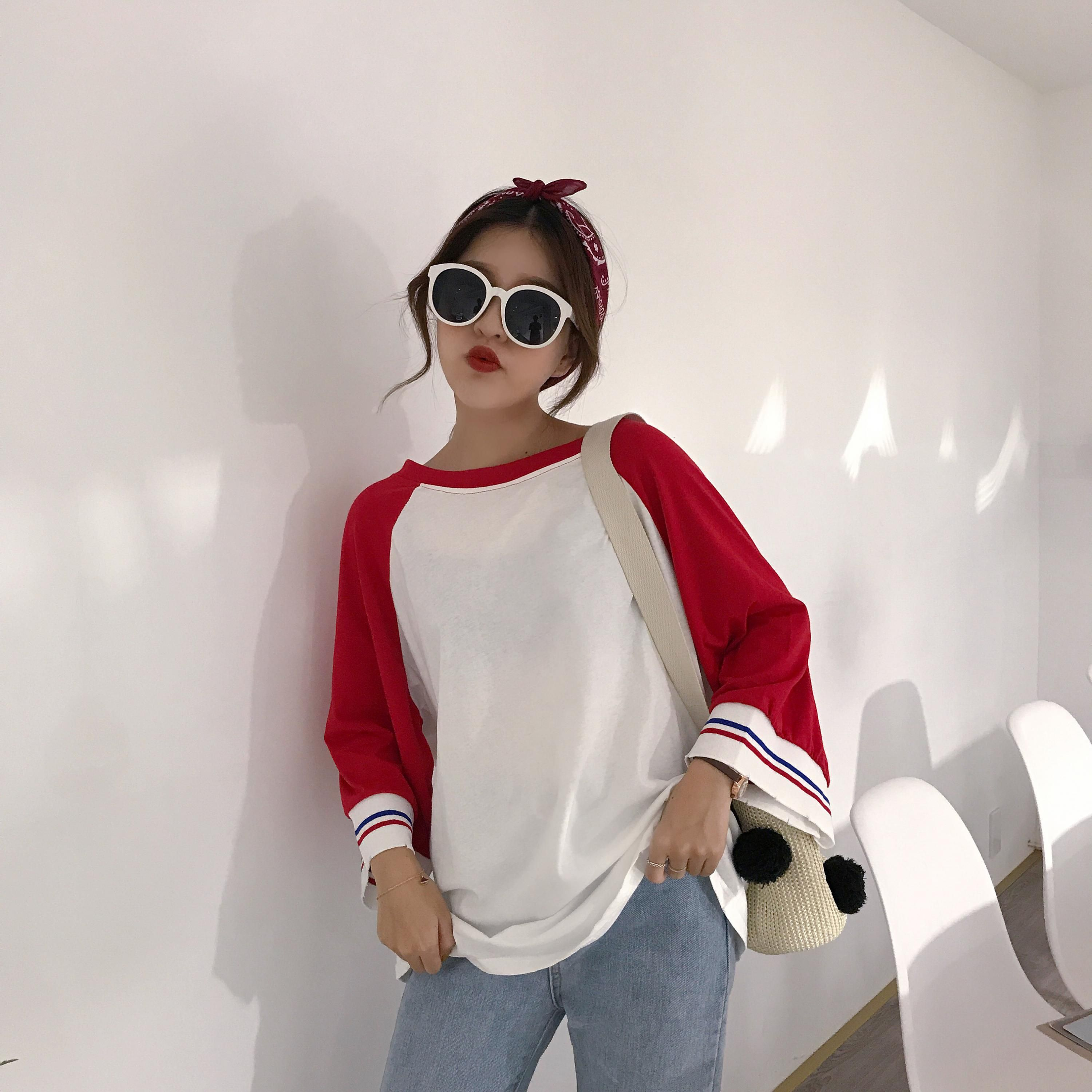 2017 Autunm New Fashion Patchwork Long Design Thin Loose Casual Solid Female T-shirts