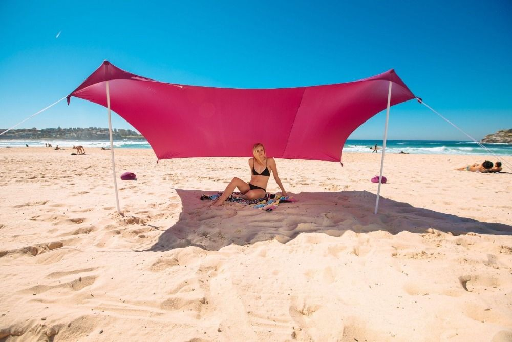 Beach SunShade Beach Tent With Sandbag Anchors & 2 FREE Poles UPF50+ Quality Lycra Fabric - Perfect Sun Shelter