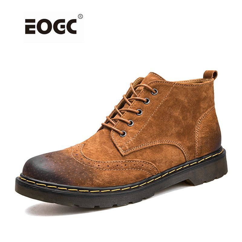 Genuine Leather Men Boots Autumn Winter Ankle Boots Fashion Footwear Lace Up Shoes Men High Quality Vintage Men Shoes