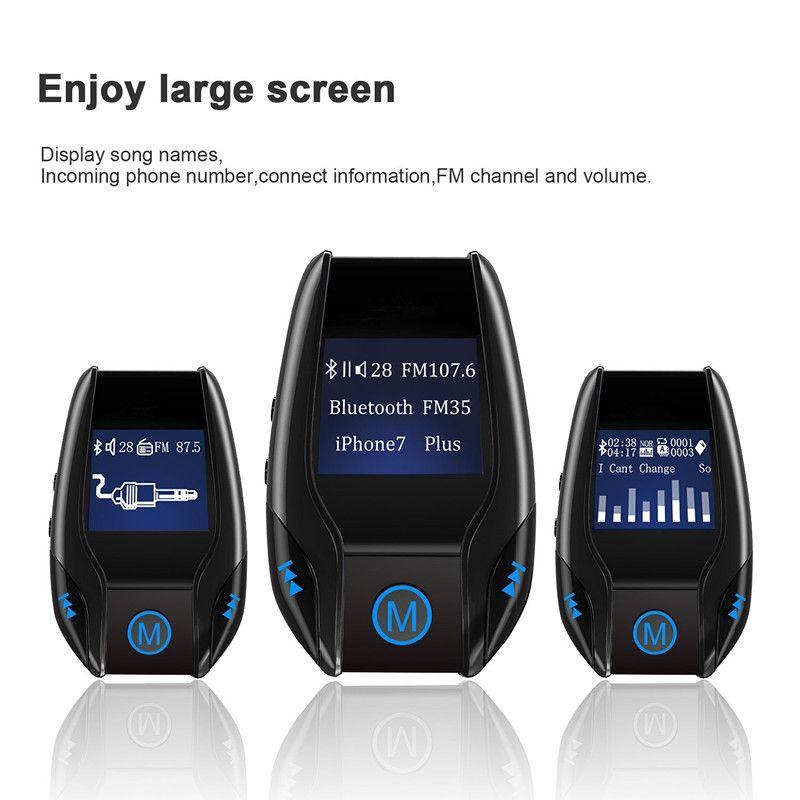 ENKLOV New Bluetooth FM Transmitter Car MP3 Player USB Dual Port 5V / 3A Output  Transmitter Large Screen ABS Material