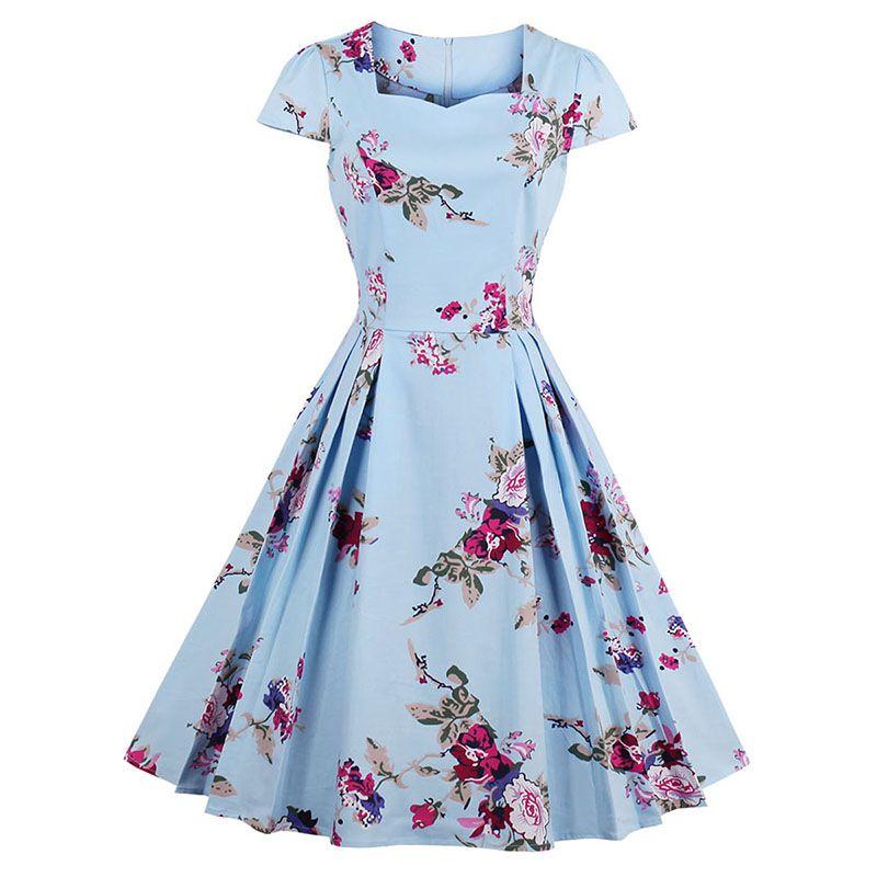 Sisjuly femmes été robe florale imprimer robes d'expansion genou-longueur col carré robe plissée filles mi-taille robes d'été