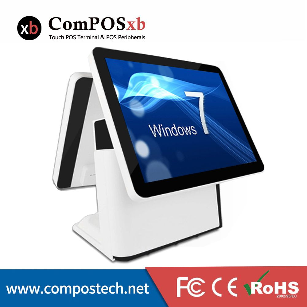 Free Shipping15 Inch Flat Screen POS All In One Cash Register With Two Screen For Restaurant POS System