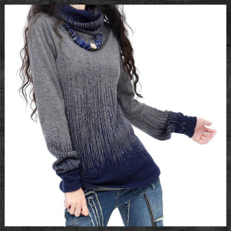 Femmes dégradé noir bleu Vintage pull en cachemire femmes hiver col roulé épais pulls et pulls femme chaud pulls