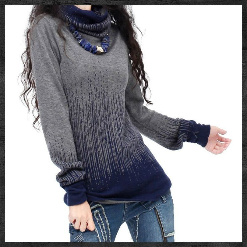 Women's Gradient Black Blue Vintage <font><b>Cashmere</b></font> Sweater Women Winter Turtleneck Thick Sweaters And Pullovers Female Warm Jumpers