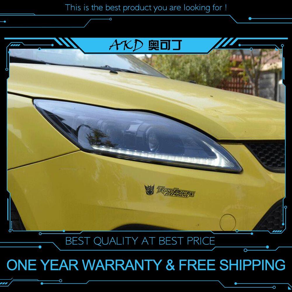 AKD tuning auto Scheinwerfer Für Ford focus 2009-2011 Scheinwerfer LED DRL Lauf lichter Bi-Xenon Strahl lichter engel augen