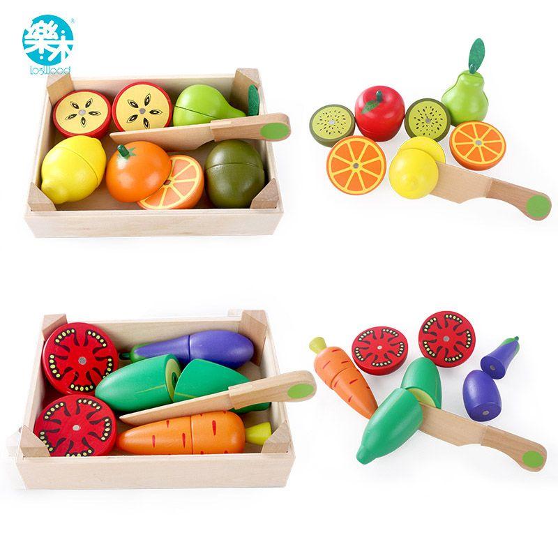 Деревянный Кухонные игрушки Резка фрукты овощи играть миниатюрные Еда детская деревянная ребенка раннего образования питание игрушки