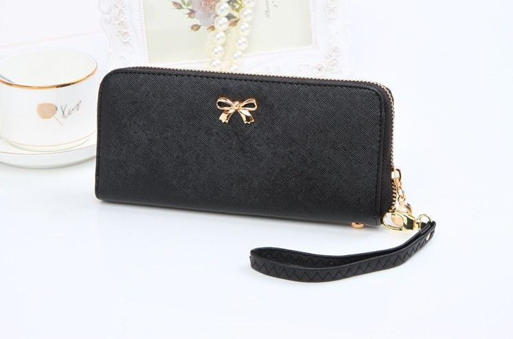 NEUE Bowknot Frauen Brieftasche Langen Leder Geldbörsen Populären Münzbeutel mit handschlaufe Casual Damen Geldform