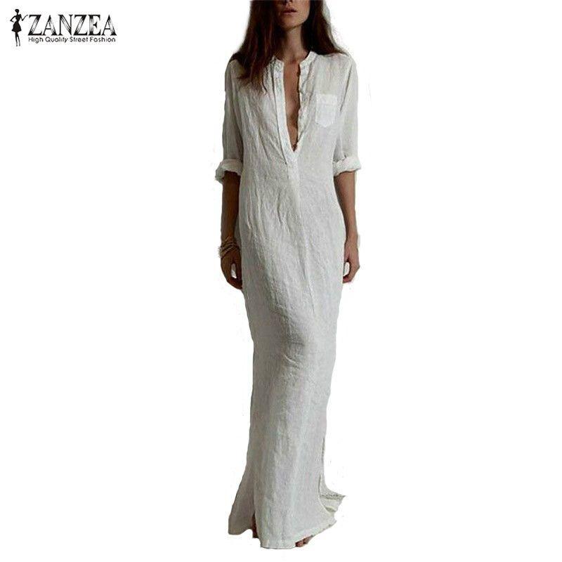 Zanzea Fashion Vestidos 2018 Autumn <font><b>Women</b></font> Sexy Casual Dress Long Sleeve Deep V Neck Split Solid Long Maxi Dress