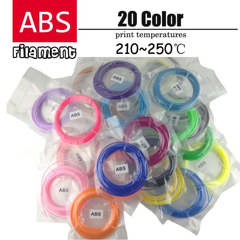 3d stylo en plastique ABS filament 1.75mm 20 Couleurs 3D Imprimante Filament Matériaux (5 M/couleur, total 100 M) et (10 M/couleur, total 200 M)