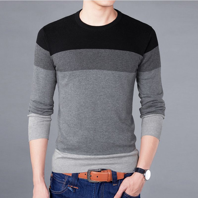 2017 New Sweater Men Autumn Winter Quality Cotton Soft Pullover Homme O-neck Patchwork Casual Fashion Men's Sweater BSETHLRA