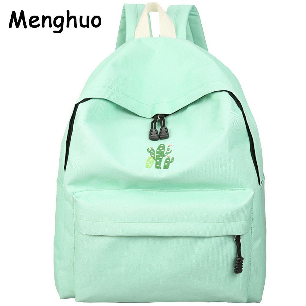 Menghuo 2017 Cactus Вышивка Простой Холст Рюкзак школьников сумка Для женщин Девушка Рюкзак Mochila Escolar Для женщин рюкзак