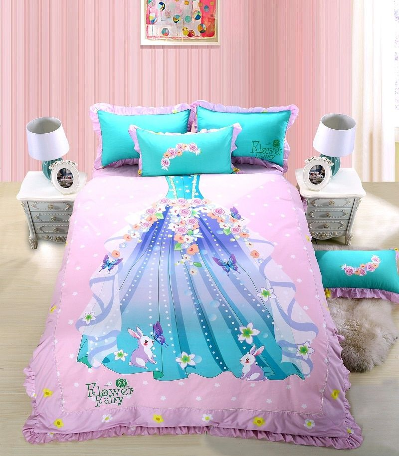 4Colors Ballet Girls Skirt Kids Children Bedding set 4Pcs Queen Twin size Fit sheet Bed sheet set Duvet/Quilt Cover Pillow shams
