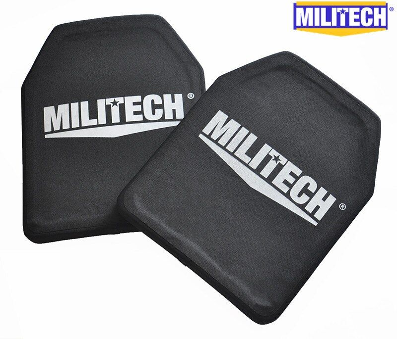 MILITECH Two Pieces Set 2.6kg Light Weight Alumina & PE NIJ IV Bulletproof Panel Al2o3 NIJ level 4 Stand Alone Ballistic Panels