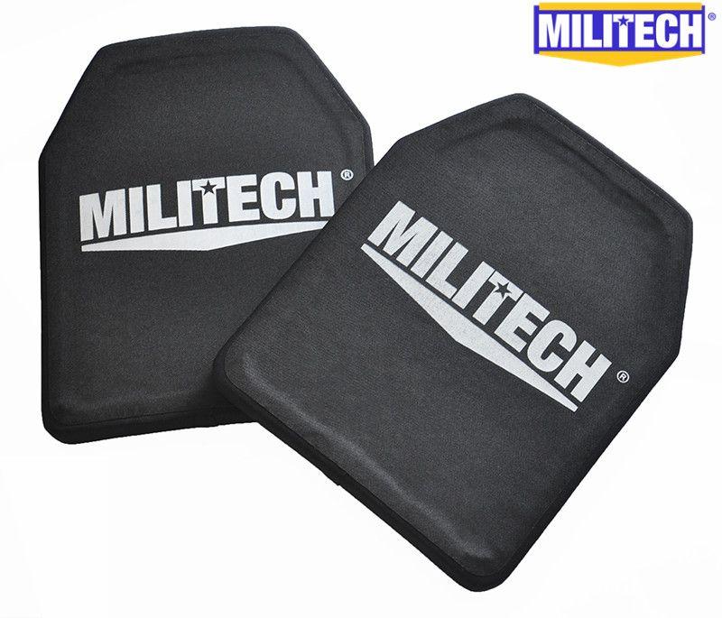 MILITECH Two Pieces Set 2.6kg Light <font><b>Weight</b></font> Alumina & PE NIJ IV Bulletproof Panel Al2o3 NIJ level 4 Stand Alone Ballistic Panels