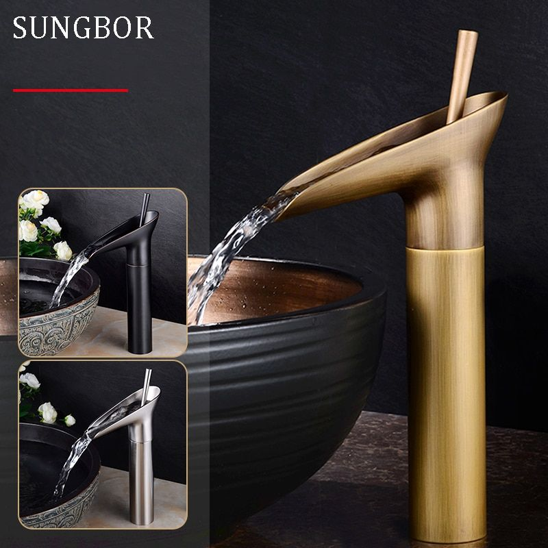 Wine Glass style Single Lever <font><b>waterfall</b></font> Bathroom Basin Faucet Brass Antique Hot and Cold bathroom Sink Mixer Taps AL-7129F
