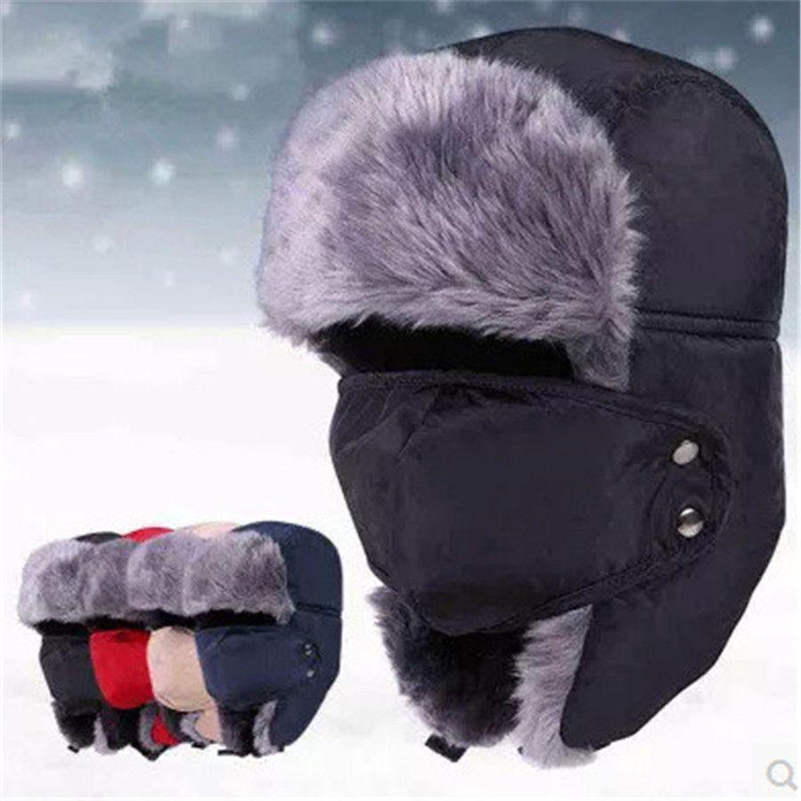 2015 New Winter fur hats Windproof Thick warm winter snow women cap Face Mask men's hat