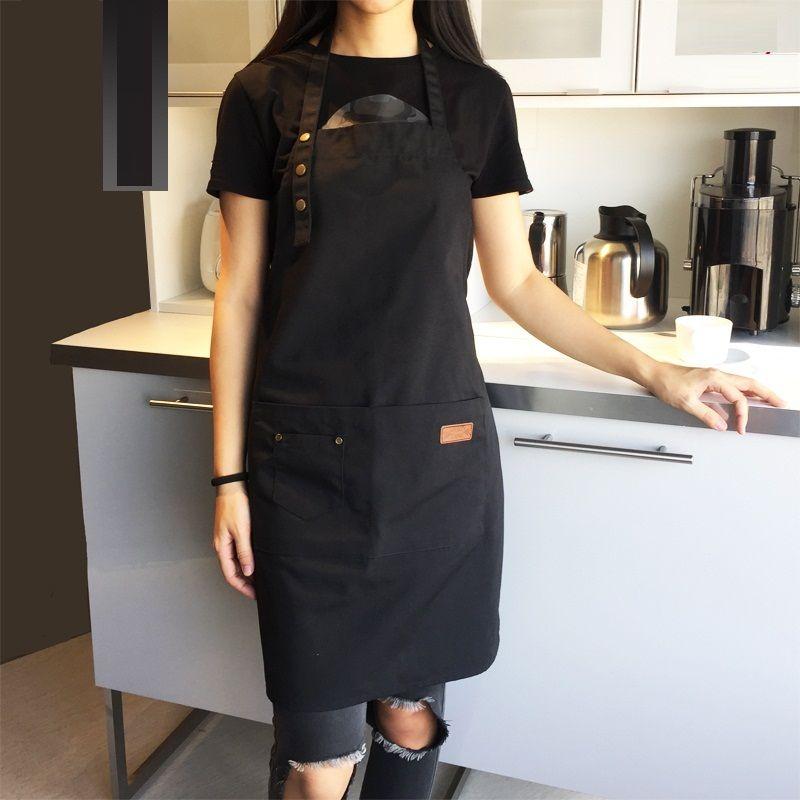 Nouveau mode toile coton tablier café et barbier travail tablier bavoir cuisine tabliers pour femme homme tablier Logo personnalisé