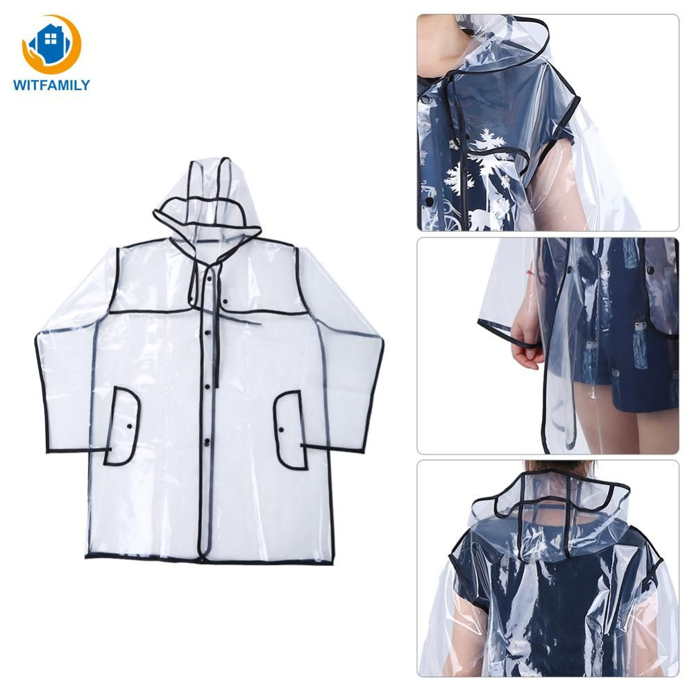 Transparent Rain Coat PVC Vinyl Waterproof Raincoat Poncho Rain Coats Ladies Rainwear Outdoor Travel Runway Hooded