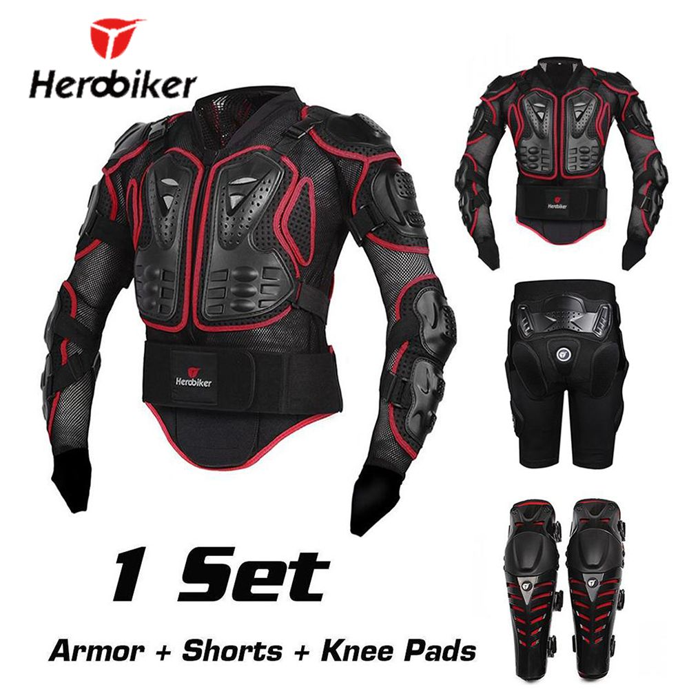 HEROBIKER <font><b>Motorcycle</b></font> Jacket Protection Armor <font><b>Motorcycle</b></font> Motocross Protective Gear Racing Full Body Protective Gear Moto Armor