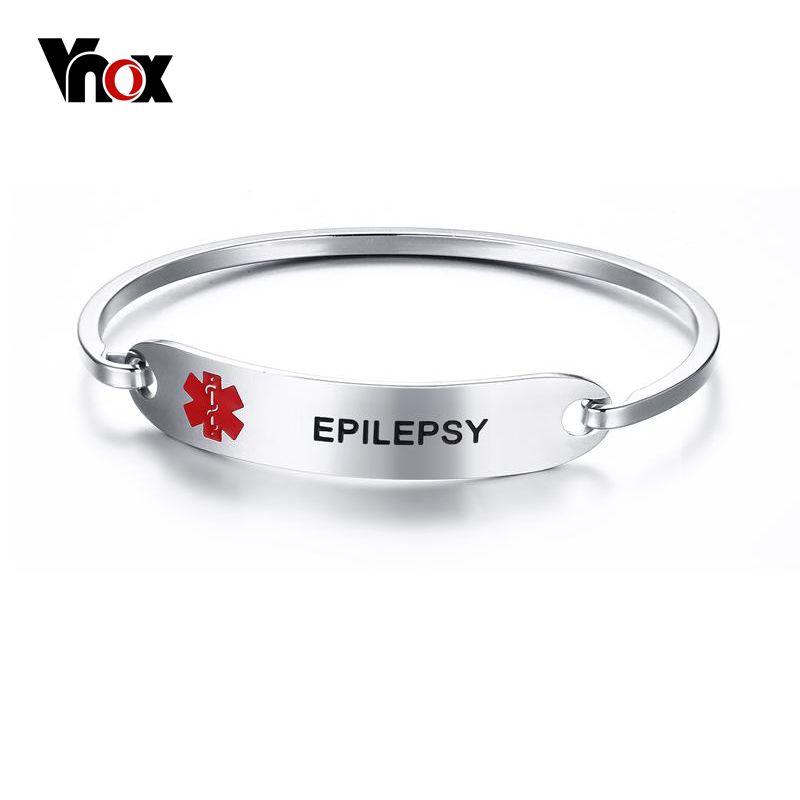 Vnox Engraved Medical Alert Identification Bracelets for Women/Men Stainless Steel Epilepsy Medical Bracelet