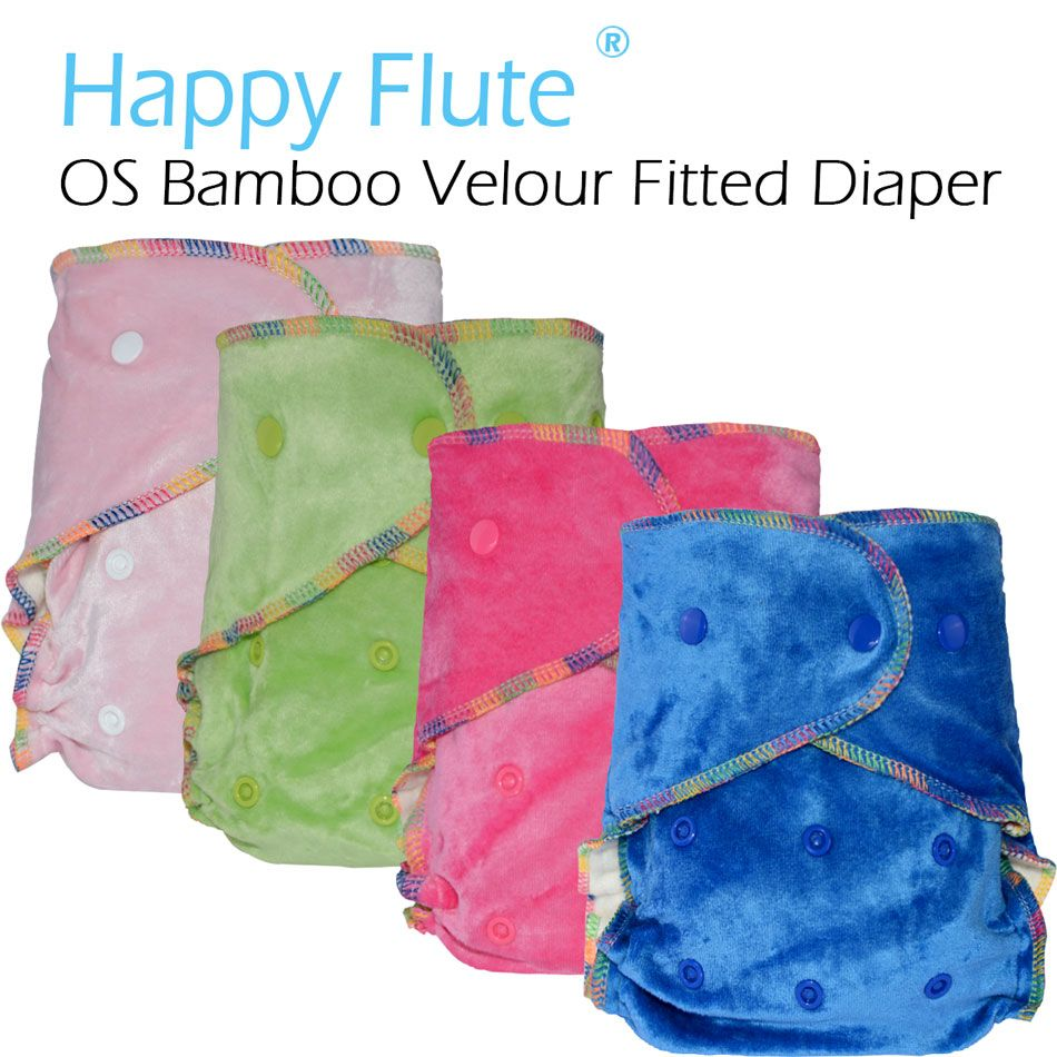HappyFlute OS Bamboo Velour Fitted Cloth Diaper AI2,onesize, No Synthetic Material to Touch Baby's skin,Birth to Potty /5-15kg,