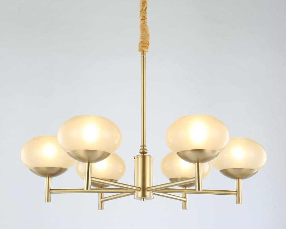 Modern Real Bronze Copper Chandelier for Bedroom Dining Living Room Round Glass Large Chandelier Lighting BLC087