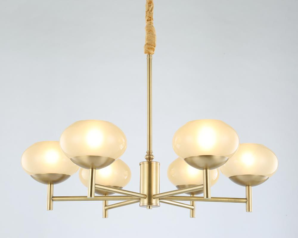 Modern Real Bronze Copper Chandelier for Bedroom Dining Living Room Round Glass Large Chandelier Lighting BLC087