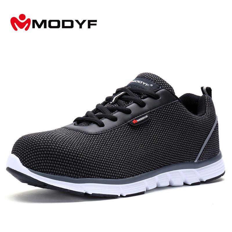 MODYF Men Safety Steel Toe Work Shoes Lightweight Breathable Casual Footwear
