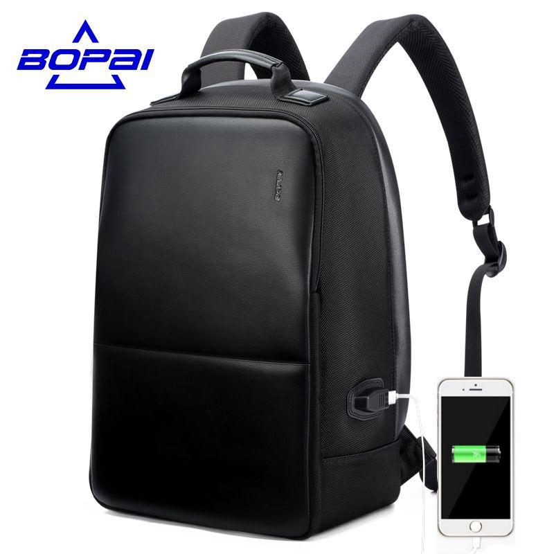 Bopai anti theft Тетрадь рюкзак Внешний USB Порты и разъёмы Для мужчин кожаный рюкзак для путешествий Водонепроницаемый ноутбук рюкзак школьный рюк...
