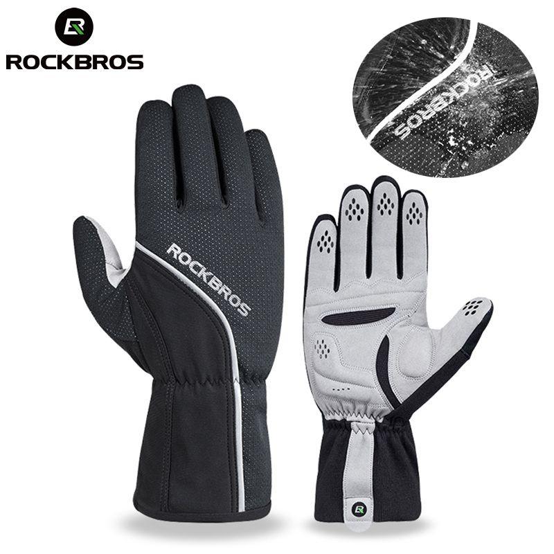 ROCKBROS Thermische Fleece Ski Handschuhe Vollfinger Winddicht Snowboard Handschuh Anti-rutsch-pad Wärmer Fahrrad Motor Mount Wandern Tragen