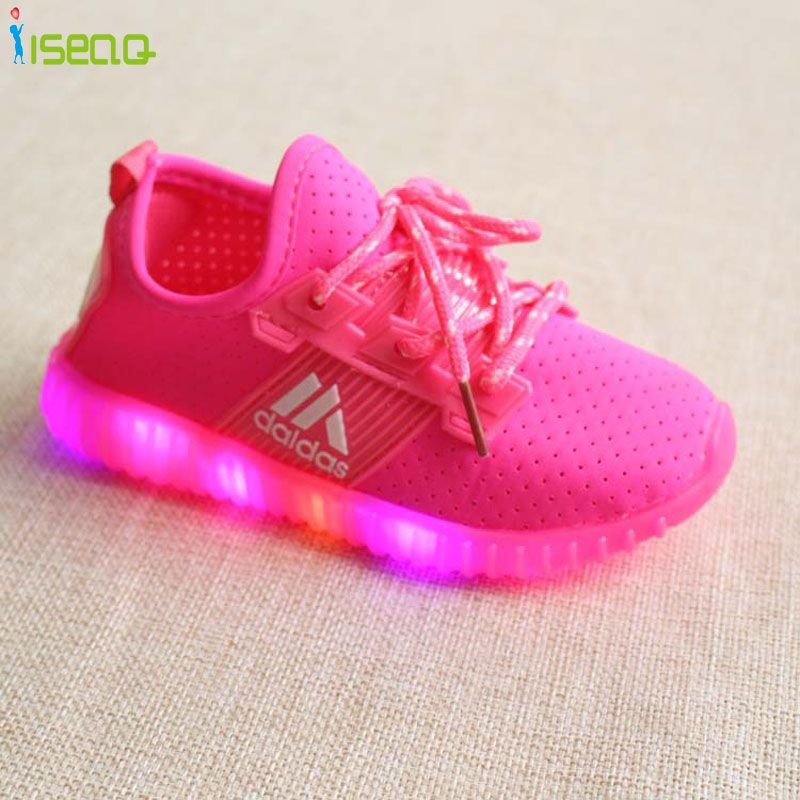 Children Girls LED <font><b>Luminous</b></font> Sneakers Kids USB charging Sports Shoes Girl Casual Boots for boys and girls Rubber Button
