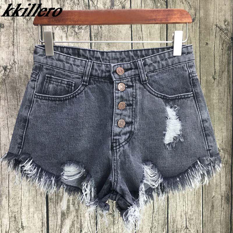 KKillero Vintage déchiré trou frange 6 couleur denim shorts femmes décontracté poche jeans shorts 2017 été fille chaud shorts SL086