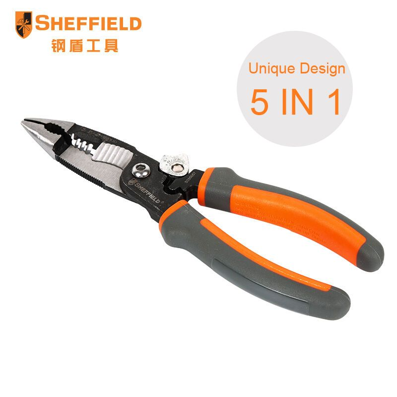 SHEFFIELD 8 inches 5 in 1 Pliers Multifunctional electrician needle nose pliers Wire <font><b>Stripping</b></font> Cutter Crimping pliers S035057