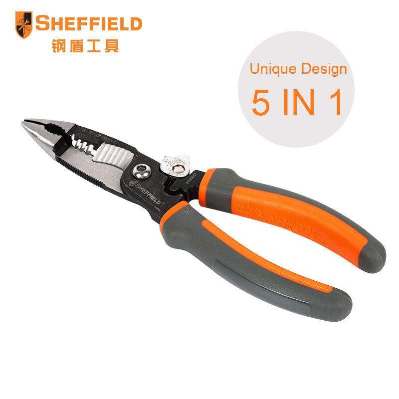 SHEFFIELD 8 pouces 5 dans 1 Pinces Multifonctions électricien pince à bec effilé Fil coupe de décapage bracelet de surveillance cardiaque S035057