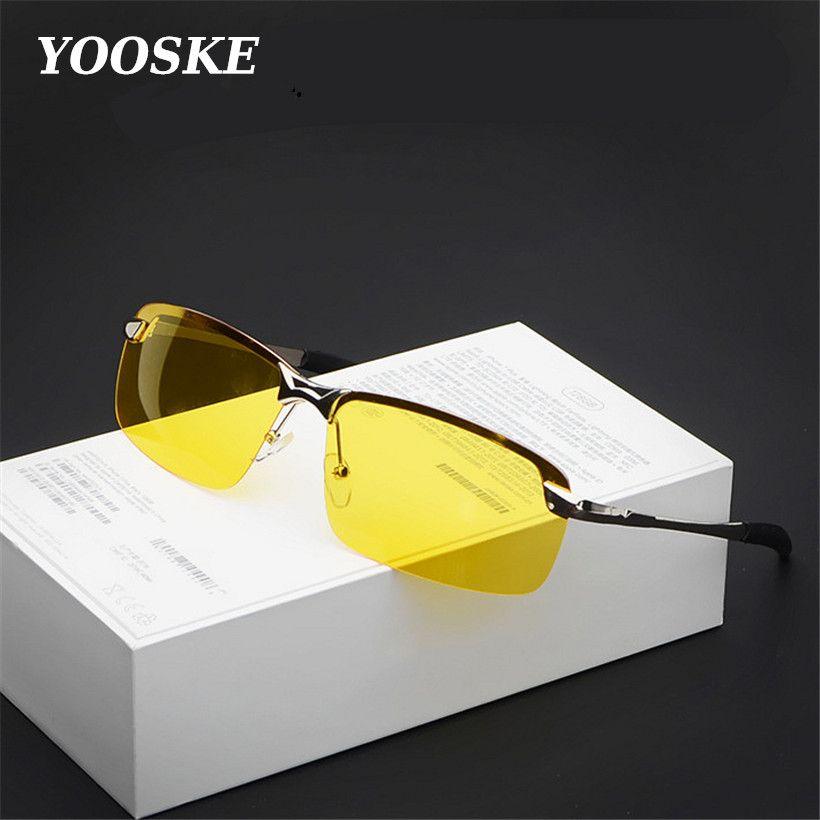 YOOSKE alliage UV400 hommes pilote Vision nocturne lunettes de soleil conduite mâle conduite lunettes de soleil pour hommes Anti-éblouissement