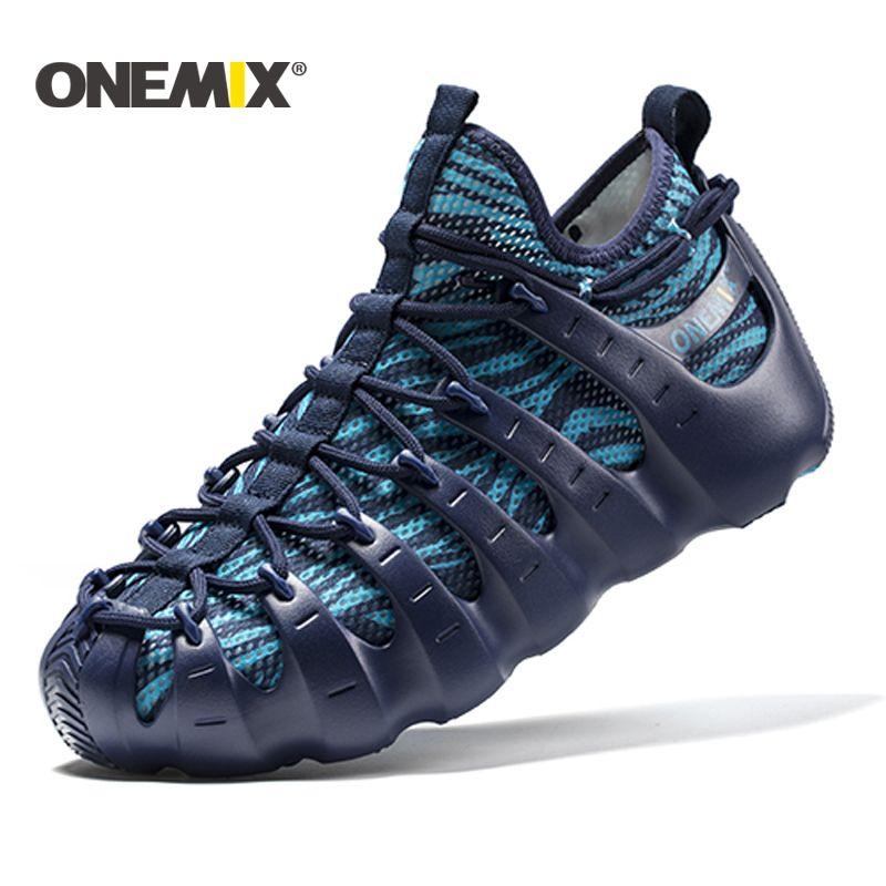 Onemix 2017 men beach sandals Rome shoes gladiator set shoes light cool outdoor walking shoes sock-like slipper jogging shoes