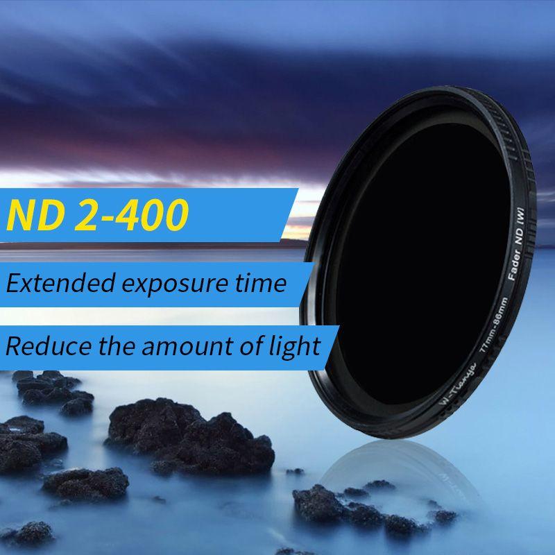 Wtianya filtre à Densité Neutre ND2 à ND400 77 40.5 43 46 49 52 58 62 67 72 82mm gamme Variable filtre ND 2 à 9 Variateur
