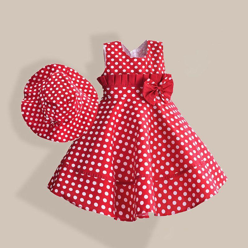 Été Fille Robe avec Chapeau Rouge Dot De Mode Arc Filles Robes Casual A-ligne Enfants Vêtements robe fille enfant 3-8 T