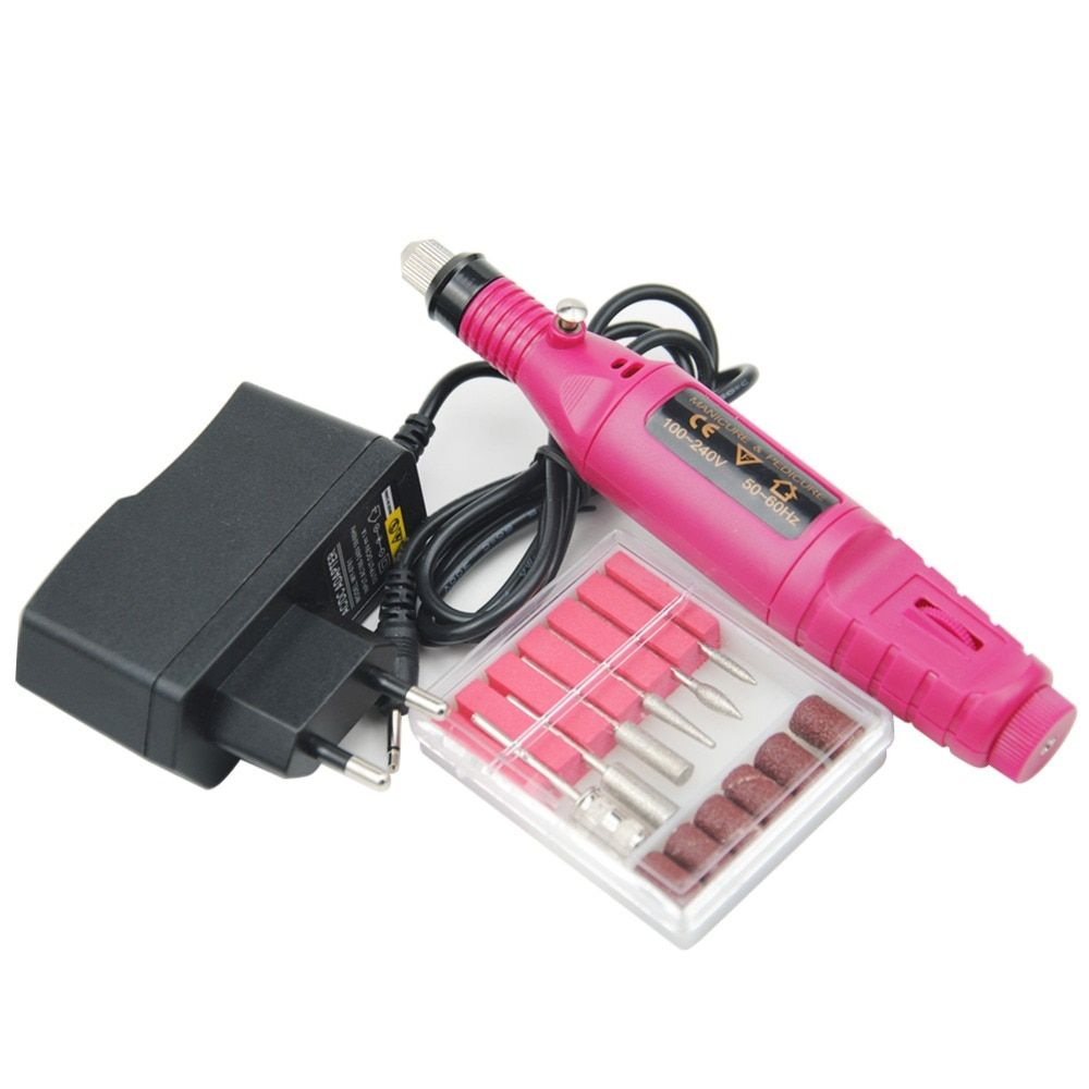 1set Power Professional Electric Manicure Machine Pen Pedicure Nail File Nail Tools 6 bits Drill Nail Drill Machine