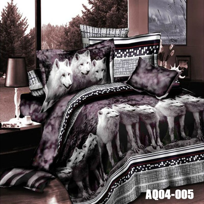 Hot Sale 3D Print Wolf Bedding Sets Queen Size King Size Duvet <font><b>Cover</b></font> Set Wolves Animal Bedding Solid Color