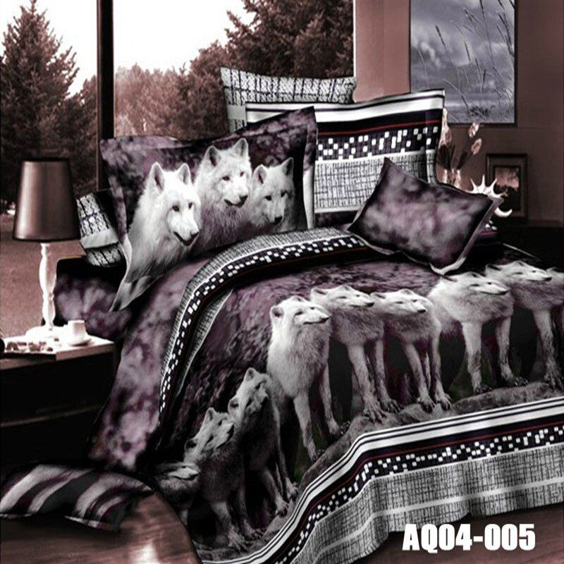 Hot Sale 3D Print Wolf Bedding Sets Queen Size King Size Duvet Cover Set Wolves Animal Bedding Solid Color